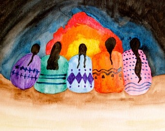Women Gathering Painting Original Watercolor Print Fire Native American Women Wise Women Desert Braids Southwest Art