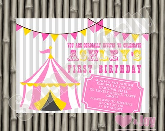 Circus Invitation, Circus Invite, Carnival Invitation, Carnival Invite, Birthday Invitation, Birthday Invite, Pink, Yellow, PRINTABLE