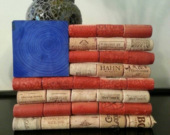 Wine Cork American Flag Decor; red, white, blue, patriotic, america, flag, home decor, wall, freedom, us, painted, handmade, 4th of july