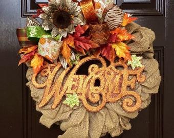 Fall burlap welcome wreath, fall welcome wreath, harvest wreath, burlap welcome fall wreath, autum welcome wreath