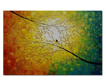 Large Painting, Abstract Painting, Large Art, Love Birds, Wall Art, Original Art, Canvas Painting, Abstract Art, Canvas Art, Oil Painting