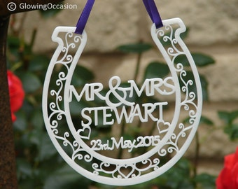 Personalised Good Luck Wedding and Bridal Mr & Mrs Horseshoe Gift And Keepsake