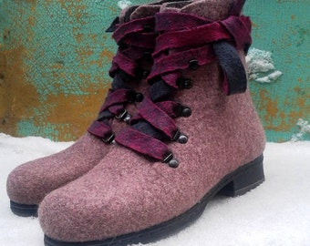 Ботинки валяные из шерсти ручная работа Войлок Hand felted women boots Natural and Easy - 100% natural wool - organic wool - gift for her