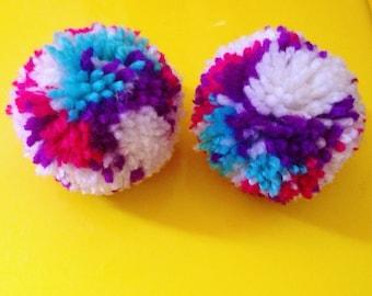 Wacky Pom Pom earrings -White, Aqua, Magenta & Purple.