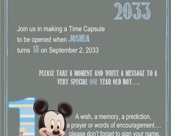 Mickey Mouse Chalkboard Time Capsule Sign for a First Birthday