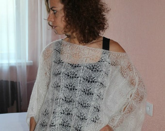 Hand knitted Wedding lace shawl. White color Can be made to order Lace shawl for women Knit Wedding capelet  Knitted poncho Knit capet