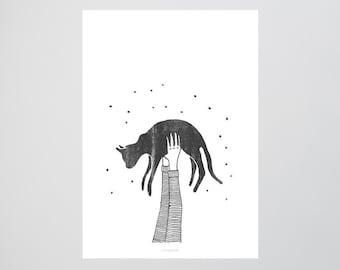 Hi Cat / Hold, Arms, Air, Fine Art-Print, Wall-Art, Minimal Poster Art, Typography Art, Premium Poster, Kunstdruck Poster