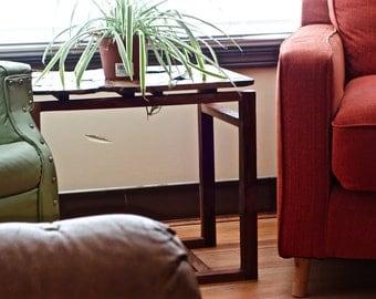 Modern walnut side table