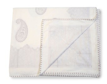 PAISLEY GREY Dohars Summer Blanket Handblock Printed Cotton Muslin