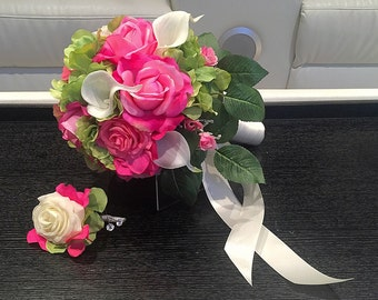 Pink Rose Bouquet, White Calla Lilies, Pink Roses, White Roses, Bridal Bouquet, Pink Bouquet, Pink Wedding Bouquet, Green Hydrangea Accents,