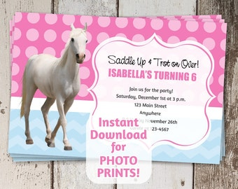 Horse riding invite etsy horse birthday party invitation instant digital file download get photo prints printable on yadclub Image collections