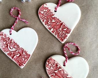 Ceramic Christmas Ornaments - Christmas Tree Decorations - Set Of Three - White Ceramic Ornament