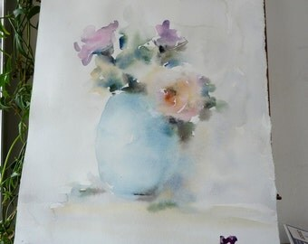 Original watercolor painting: Blue Vase, roses