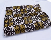 Hand-dyed fabric, Nigerian adire, brown, ochre, textiles, batik, tie and dye, cotton, African fabric, by yard, Adire fabric from Nigeria