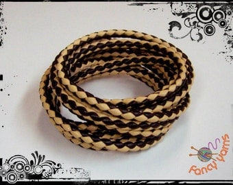 Tubular cord, braided faux leather two-tone, diameter 6 mm.