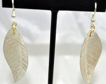 Sterling Silver and 18Kt Yellow Gold Leaf Dangles