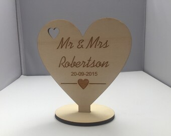 Personalised rustic wedding table place name marker