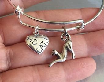 Cat bracelet-sterling silver charm and bracelet