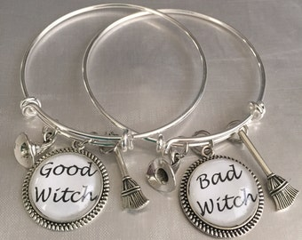 Good witch or Bad witch or both  bangle bracelet cabochon
