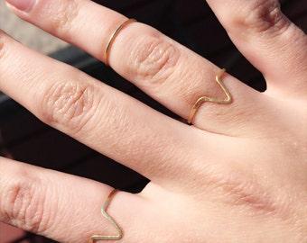 FREE SHIPPING Gold Midi V Ring