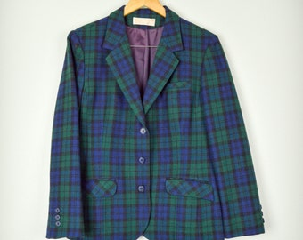 SALE- Vintage Pendleton Blazer, Vintage Clothing, Blue Green Blazer, Wool Blazer, Plaid Blazer, 60s Clothing, Green, Blue, Tartan