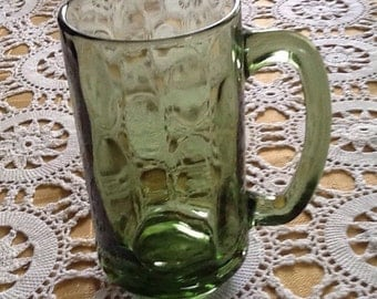 Retro, Midcentury, Avocado / Olive  Green, thumbprint, footed mugs, root beer float glasses