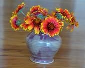 Maroon & Beige Flower Vase, Hand Thrown Bmix Porcelain, Ceramic Flower Vase, Purple Vase, Maroon Vessel, Jar, Canister | Caldwell Pottery