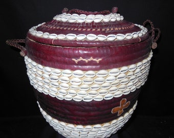 Leather, Fiber And Cowrie Shell Large Basket Handmade Hausa People Africa Decor