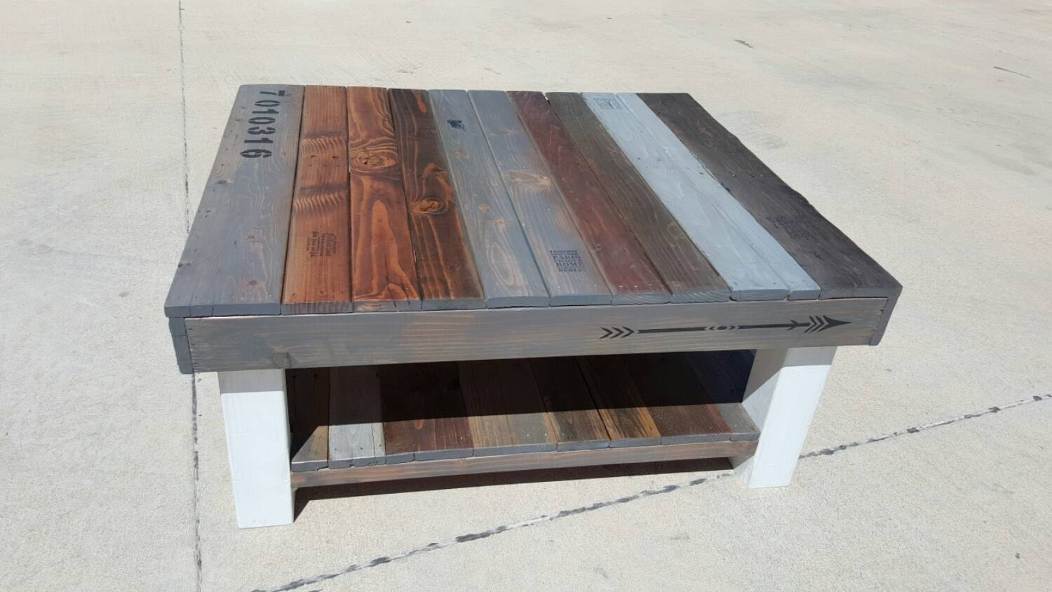 Reclaimed Wood Coffee Table With Multi Colored Stain And Lower
