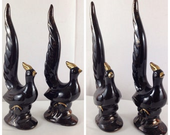 Pheasants Set of two Hollywood Regency Black & Gold Glittery Ceramic 1960s