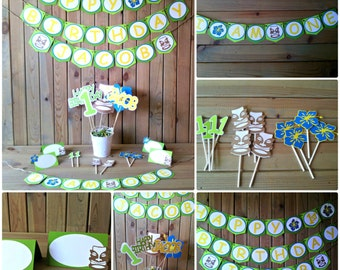 Luau Tiki Birthday Party Package - Hawaiian party - Luau Birthday Decor - boys birthday - Luau decorations - party supplies
