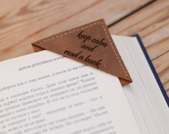 Bookmarks Corner bookmark Personalized bookmarks Engraved bookmark Leather bookmark Book lover gift