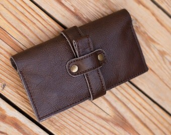 Leather wallet Men's wallet Brown leather wallet Phone case iPhone 6 wallet