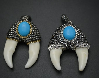 1pc Cool Two White Teeth Pendant Paved Crystal and Blue Turquoise Cabochon on Top Pliers Shape Jewelry making materials