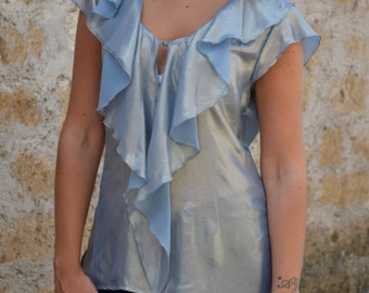 Blouse , Shirt , Silk smeared, Silver light blue color, V-Neckline  with special collar-volant.