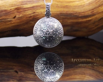Shema Israel pendant, Ana Bekoach pendant, Jewish pendant, Necklace silver, Judaica jewelry, Judaica, Israeli art works,Ana Bekoach,Jewish