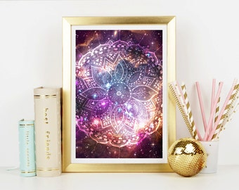 Cosmic Mandala Art Print - Home Decor - Wall Art - Art Print