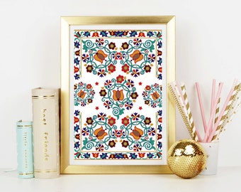 Floral Folk Art Print - Home Decor - Wall Art - Art Print