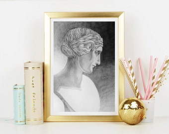 Portrait of Greek Lady Art Print - Home Decor - Wall Art - Art Print