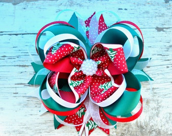 Christmas Hair Bow Girls Hair Bows Holiday Hair Bow Christmas Hairbow Christmas Hair Clip Boutique Hairbow Red green bow Christmas Bow Baby