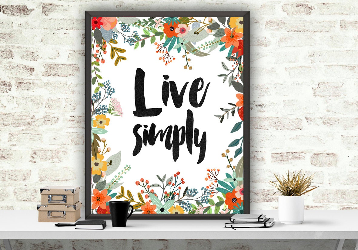 Live simply print wall decor floral art print by atartdigital for Live simply wall art