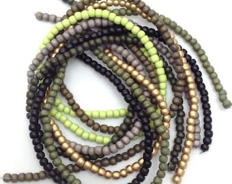 Mix green grey 5mm 7 strands, wood beads, beads, 644 pieces