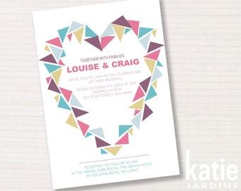 wedding invitation -  graphic heart - printable invitation - 5x7 - modern graphic