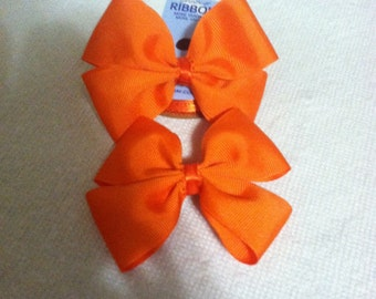 Orange Double Bow Clips
