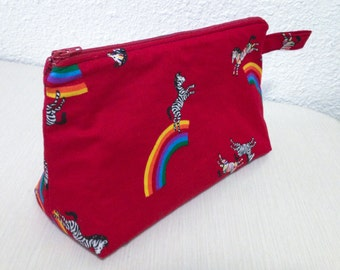 Zebra Rainbow Fruit Stripe Makeup Bag