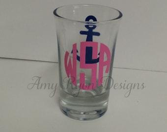Monogrammed anchor shot glass, Anchor shot glass, Nautical themed shot glass, Bridal party gift, Bachelorette party shot glass
