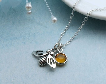 Honey Bee Necklace Sterling Silver With Custom Birthstone, Silver Queen Bee Dainty Bumble Bee Pendant, Sterling Bee Charm Necklace, Tiny Bee