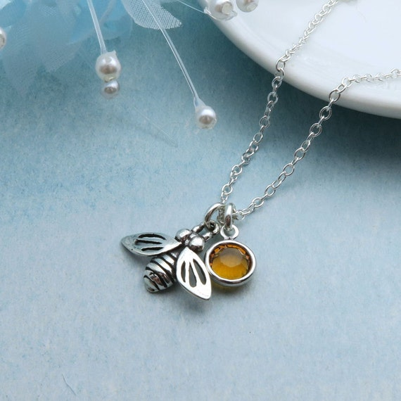 545899f72d0ac Honey Bee Necklace Sterling Silver With Custom Birthstone, Silver ...