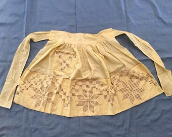 Vintage 1950s Homemade Yellow Gingham Kitchen Apron with Brown Embroidery Cross Stitched Design