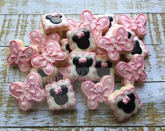2 Dozen Minnie Mouse Mini Decorated Cookies